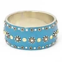 Handmade Blue Bangle Studded with Metal Flowers & Rhinestones