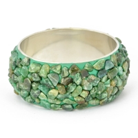 Handmade Green Bangle Studded with Tumbled Aventurine Quartz