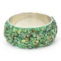 Handmade Green Bangle Studded with Tumbled Aventurine Quartz