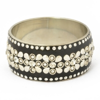 Handmade Black Bangle Studded with Metal Accessories & White Rhinestones
