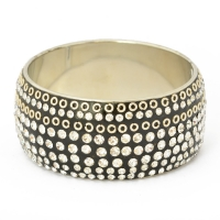 Handmade Black Bangle Studded with Metal Rings & White Rhinestones