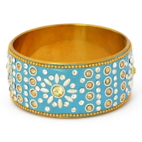 Handmade Blue Bangle Studded with Metal Rings, Accessories & Rhinestones