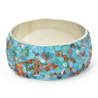 Handmade Blue Bangle Studded with Quartz Gemstones