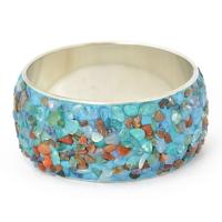Handmade Blue Bangle Studded with Quartz Gemstones