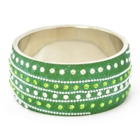 Handmade Green Bangle Studded with Metal Chain & Rhinestones