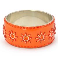 Handmade Orange Bangle Studded with Cabochons & Rhinestones