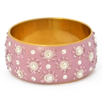 Handmade Purple Bangle Studded with Purple & White Rhinestones