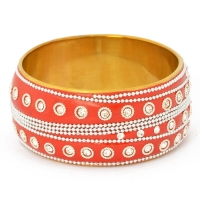 Handmade Red Bangle Studded with Metal Chains, Rings & Rhinestones
