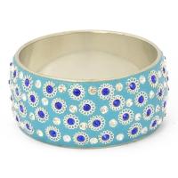 Handmade Blue Bangle Studded with Blue & White Rhinestones