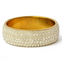Handmade White Bangle Studded with Metal Rings & White Rhinestones