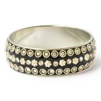 Handmade Black Bangle Studded with Metal Rings, Flowers & Rhinestones