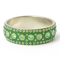 Handmade Green Bangle Studded with Metal Rings & Rhinestones