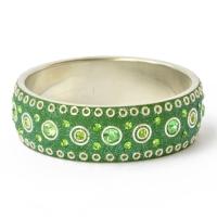 Handmade Green Bangle Studded with Metal Rings & Rhinestones