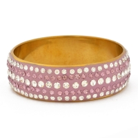 Handmade Purple Bangle Studded with White & Purple Rhinestones