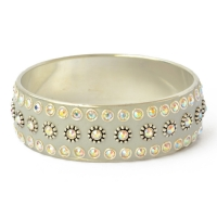 Gray Kashmiri Bangle Studded with Metal Rings & Rhinestones