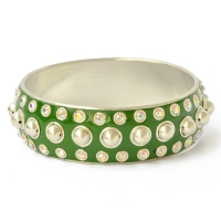Green Kashmiri Bangle Studded with Metal Rings, Balls & Rhinestones