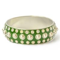 Green Kashmiri Bangle Studded with Metal Rings, Balls & Rhinestones