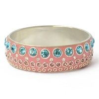 Pink Kashmiri Bangle Studded with Metal Rings & Rhinestones