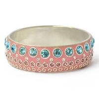 Pink Kashmiri Bangle Studded with Metal Rings & Rhinestones