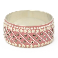 Pink Kashmiri Bangle Studded with Rhinestones & Metal Accessories