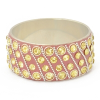 Pink Kashmiri Bangle Studded with Metal Rings, Chains & Rhinestones
