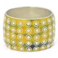 Yellow Kashmiri Bangle with Blue Spots Studded with Rhinestones & Metal Rings