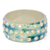 White & Blue Glitter Bangle Studded with Metal Rings & Rhinestones