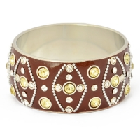 Brown Kashmiri Bangle Studded with Metal Chains, Rings & Rhinestones