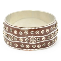 Brown Kashmiri Bangle Studded with Metal Chains, Rings & Flowers