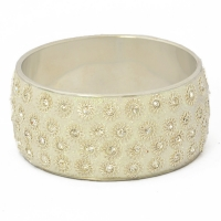 White Glitter Kashmiri Bangle Studded with Rhinestones & Metal Rings