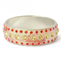 White & Red Glitter Bangle Studded with Metal Rings & Rhinestones