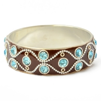 Brown Bangle Studded with Metal Chains, Rings & Rhinestones
