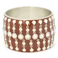 Brown Kashmiri Bangle Studded with Metal Accessories & Rhinestones