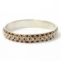Handmade Brown Bangle Studded with Metal Rings & Balls