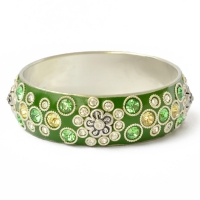 Handmade Green Bangle Studded with Metal Rings & Rhinestones (Front View)