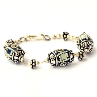 Handmade Bracelet having Black Beads with Mirror Chips & Metal Balls