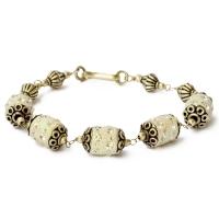 Handmade Bracelet having White Glitter Beads with Rhinestones