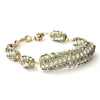 Handmade Bracelet having Gray Beads with White + Gray Rhinestones
