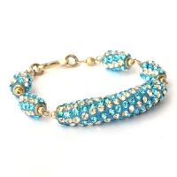 Handmade Bracelet having Blue Beads with White + Aqua Rhinestones