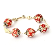 Handmade Bracelet with Red Maruti Beads having Metal Rings & Rhinestones