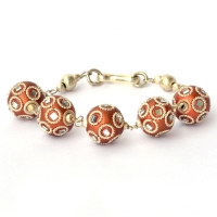 Handmade Bracelet having Shining Copper Beads with Mirrors
