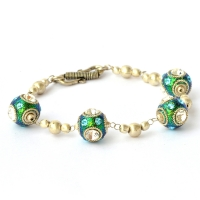Handmade Bracelet having Teal Glitter Beads with Metal Rings & Rhinestones