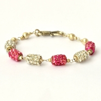 Handmade Bracelet having White & Pink Rhinestone Beads