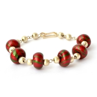 Handmade Bracelet having Red Beads with Green Stripes