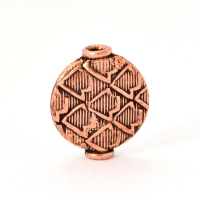 Flat-Round Oxidized Copper Beads in 14x12mm