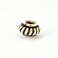 100gm Rondelle Shaped Silver Plated Copper Beads in 6x4mm