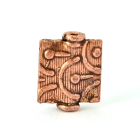 Designer Oxidized Copper Square Beads in 14x12x3mm