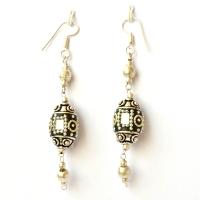 Handmade Earrings having Black Beads with Mirror Chips & Metal Chains