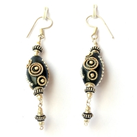 Handmade Earrings having Black Beads with Metal Rings & Balls