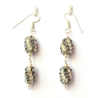 Handmade Earrings having Gray Beads with White & Gray Rhinestones